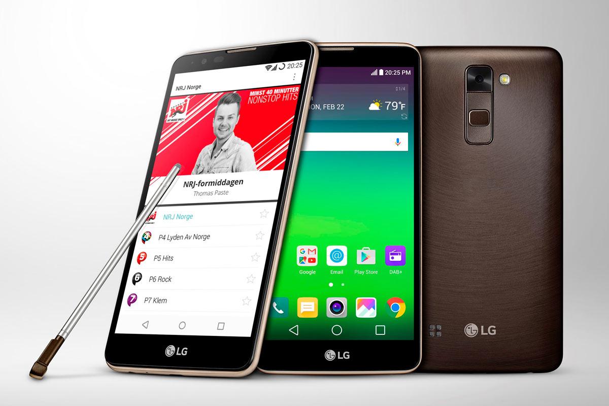Le LG Stylus 2, compatible DAB+.