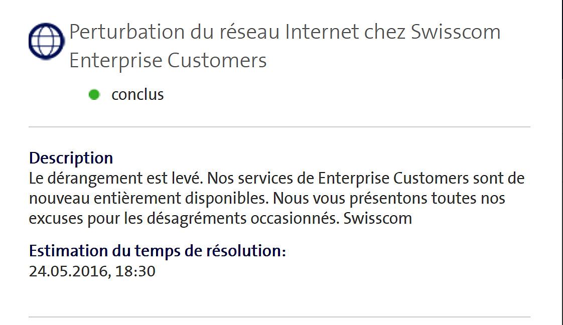 Grosse panne Swisscom entreprises.