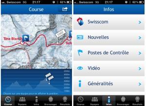 Deux captures d'écran de l'application Patrouille des Glaciers de Swisscom.