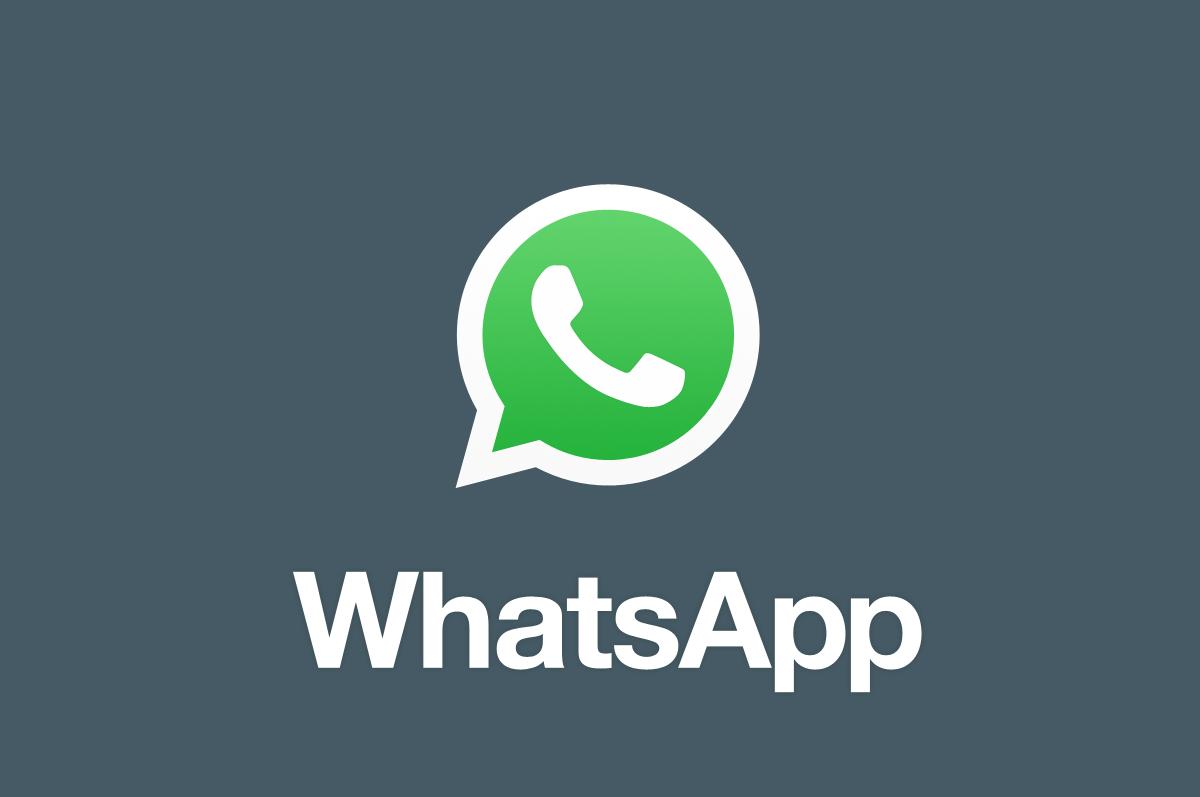 Logo WhatsApp sur fond gris.
