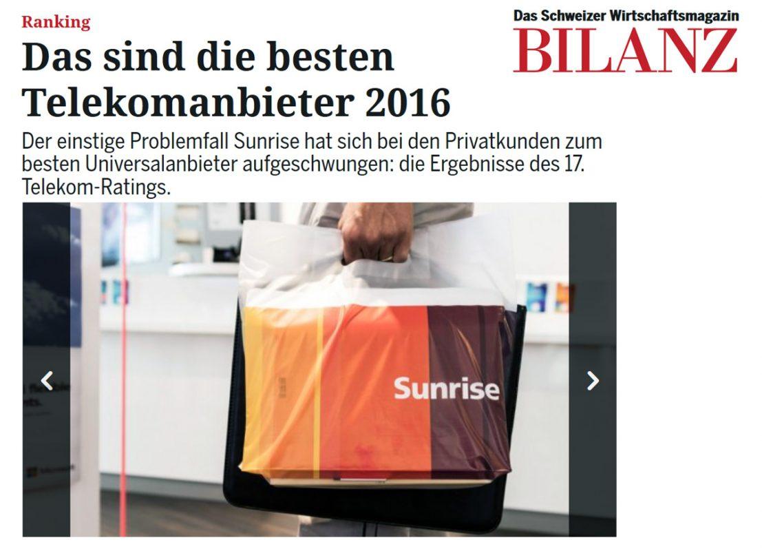 Bilanz Telecom Ranking 2016.