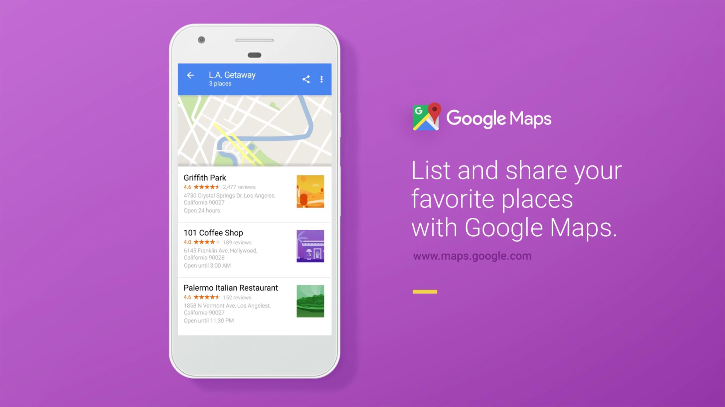 Google Maps permet de créer et partager des listes d'endroits à