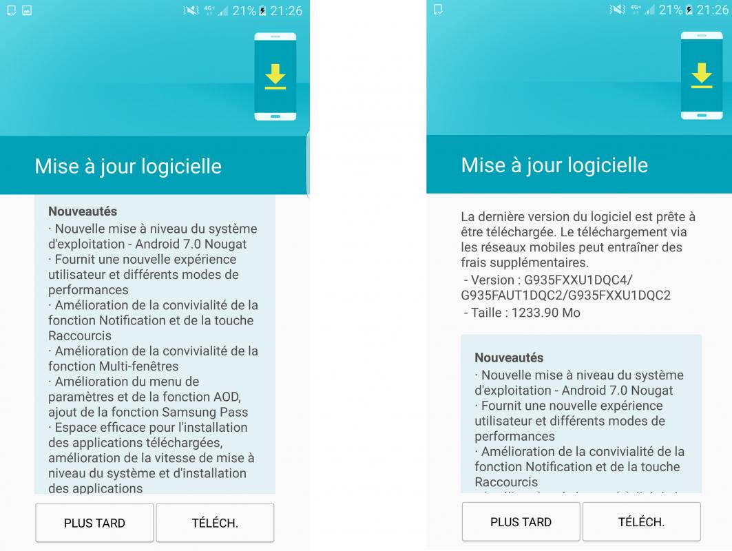 Les Samsung Galaxy S7 suisses goûtent enfin l'ultime puissance d'Android 7.0...